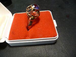 333 Gold Ring Blau/Lila Stein 3,10 Gramm 62/19,8 mm Goldring