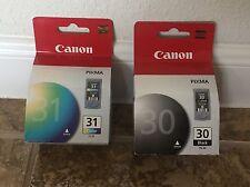 2 PACK GENUINE CANON INK CARTRIDGE SET PG-30 PG30 BLACK & CL-31 CL31 COLOR 30 31