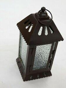 Brown Metal Tea Light Candle Hanging Lantern or Decorative Figurine