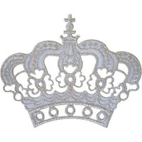 White Silver Crown Patch Iron On Sew On King Queen Fancy Dress Embroidered Badge