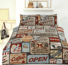 Retro Home Vintage Coffee Shop Signs Printed Single Bed Quilt Cover Set New