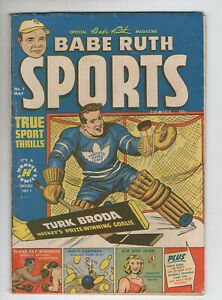Babe Ruth Sports Comics 7 Harvey 1950 VG Turk Broda Sugar Ray Robinson