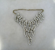 STUNNING RUNWAY CASCADING CRYSTAL LEAVES STATEMENT NECKLACE