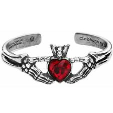 ALCHEMY CLADDAGH BY NIGHT BANGLE BRACELET Skeleton Red Gothic LOVE FRIENDSHIP