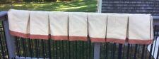 Pair of Custom Box Pleat Window Treatments  - Off white with terra-cotta trim