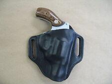 S&W 36, 60, 640, 642, 442 Leather 2 Slot Molded Pancake Belt Holster  BLACK RH