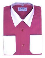 Berlioni Men's Regular Fit Two Tone Dress Shirt Rose