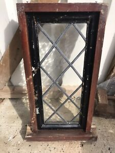 Reclaimed Excellent Condition Leaded Oak/hardwood Window (glass Is Perfect)