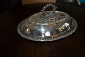 """English style  serving bowl metal max 12 1/4"""" x 9 1/2"""" withorn lid 6"""" very heavy"""