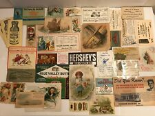 Vintage Antique Lot 37 Ephemera Paper Labels Advertising Trade Cards Postcards