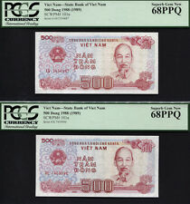 "TT PK 101a 1988-1989 VIETNAM 500 DONG ""HO CHI MINH"" PCGS 68 PPQ SUPERB SET OF 2"