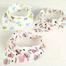 5Pcs Baby Bib Children Kids Cotton Triangle Head Scarf Bandana Dribble -SL ny
