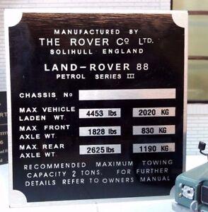 Bulkhead Gearbox/Transfer Box Chassis Plate Land Rover Series 3 88 SWB Petrol