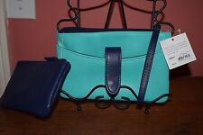 CROFT & BARROW LEATHER BLUE & TEAL WALLET/COSMETIC BAG