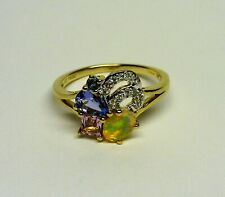 0.84 ct Natural Opal, Tanzanite, Aquamarine 10K Yellow Gold Cluster Ring Size 8