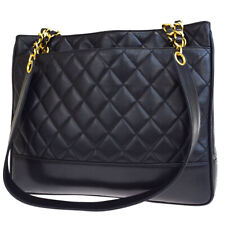 Authentic CC Logo Quilted Chain Tote Shoulder Bag Leather Black Italy 96BJ651