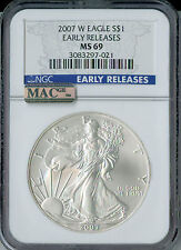 2007-W SILVER EAGLE NGC MAC MS69 PQ ER BLUE LABEL 2ND FINEST GRADE SPOTLESS  .