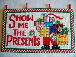 """Handmade Needlepoint SHOW ME THE PRESENTS Christmas Holiday Sign 12""""x7"""" Hanging"""