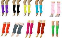 Ladies Girls Teen 80's Dance Plain Ribbed Leg Warmers Legwarmers 15 Colours Tutu
