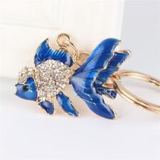 Blue Goldfish Fish Rhinestone Jewelry Crystal Pendant Charm Purse Key Chain