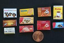 10 Miniatur Packungen Süßigkeiten Eis Lebensmittel 1:12 Puppenstube Puppenhaus