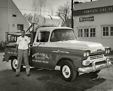 Vintage Photo ... 1950's Oil & Tire Service Truck , Chevy ... Photo Print 8x10