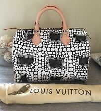 100% AUTH LOUIS VUITTON WHITE YAYOI KUSAMA SPEEDY 30 BAG LIMITED SPECIAL EDITION