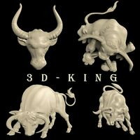 4 PCS 3D STL Models BULLS for CNC Router 3D Printer Engraver Carving Aspire Cut