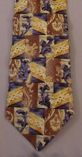 Ermenegildo Zegna 100% Silk Brown Taupe Gold & Gray Design Made in Italy Necktie