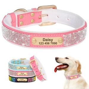 Padded Suede Rhinestone Personalized Dog Collar Pet Cat Puppy Name ID Necklace