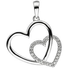 Trailer Two Interlinked Hearts with White Zirconia, 925 Silver, Rhodium-Plated