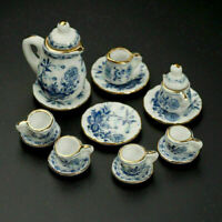 15X Dining Ware Ceramic Blue Flower Set for 1:12 Dollhouse Miniatures Decor G6Q1