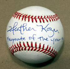 HEATHER KOZAR SIGNED AUTOGRAPHED BASEBALL + PLAYMATE OF THE YEAR 99 BECKETT BAS