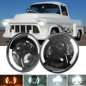 Pair 7inch Round LED Headlights Halo DRL For Chevy Truck 47-57 C10 C20/30 Pickup