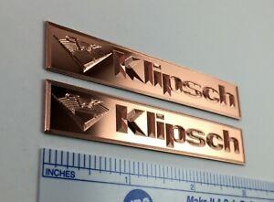 Custom Engraved SOLID COPPER Klipsch Speaker Badge Logo Emblem Pair