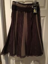 NWT ($118) Nygard Collection Sz 8 Long Brown Fit & Flare Modest No Slit Skirt