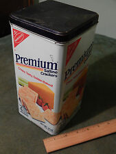 "(1985) NABISCO Premium Saltine Crackers [METAL TIN] Vtg. Retro USA ""Reusable"""