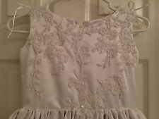 Girl's Communion Dress Size 10 11 12 White Party Formal Sequins Beads Wedding