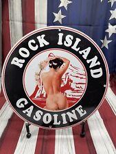 VINTAGE PORCELAIN ROCK ISLAND GASOLINE PUMP PUSH PLATE USA MAN CAVE GARAGE SIGN