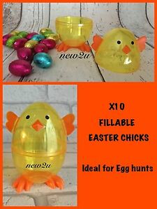 X10 Yellow Chick  Two Part Fillable Plastic Easter Eggs | Kids Easter Parties -