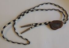 Vintage Mid Century Black White Weaved Bolo Tie w/Brown Polished Stone Slide