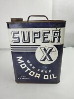 Vintage Super X Motor Oil Two Gallon Oil Can