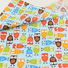 Teramila Cotton Fabric 50cmx160cm Cartoon Owls Design Quillting Patchwork Tecido