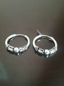 Erick.s Sterling Silver 6/8 Inches Beaded and Braided Hoop Earrings Taxco.925