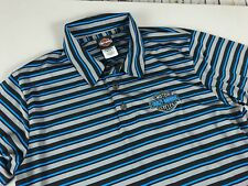 Men's Harly-Davidson Polo Shirt Size L Performance Charlotte Striped Polyester