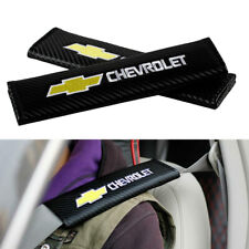 2x  For Chevrolet Chevy Logo Carbon Fiber Car Safe Seat Belt Shoulder Pads Cover