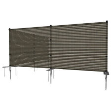 Brown 4ft Outdoor Mesh Fence with Pole Movable Freestanding Patio Pool Fencing