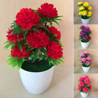 Artificial Chrysanthemums Flowers Plant In Pot  Fake Bonsai Potted Plant Decor