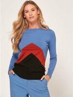 Womens Ladies Blue Paprika Black Colourblock Chevron Fine Knit Jumper Size 10-22
