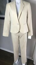 NWT Lafayette New York 148 Woman's Suit Jacket Linen Cotton Khaki ~ Sz 8 ~